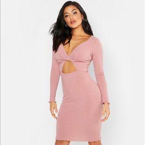 Boohoo Rose Tonal Ribbed Wrap Detail Dress